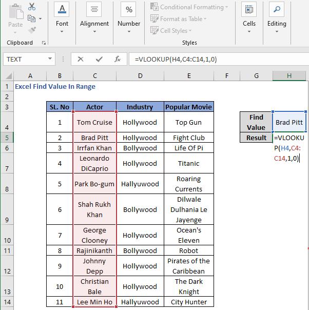 VLOOKUP function to find value