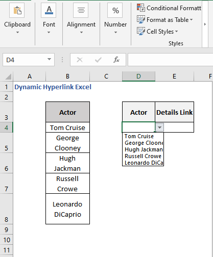 Drop-down list - Dynamic Hyperlink Excel