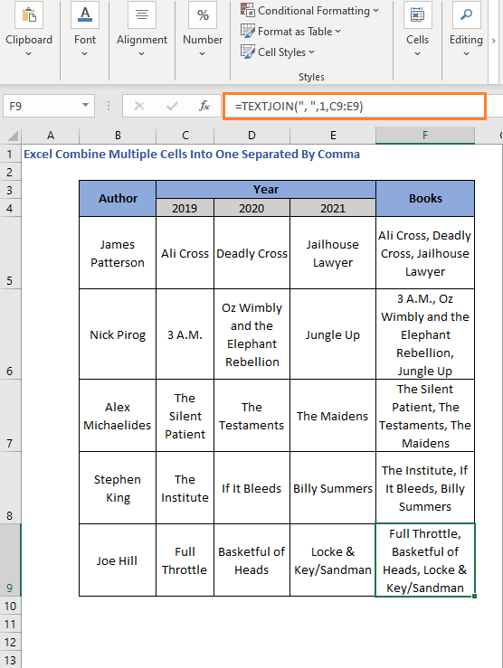 Fill the Columns with TEXTJOIN Formula - Excel Combine Multiple Cells Into One Separated By Comma