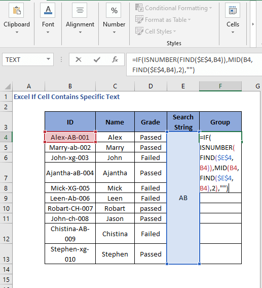 Updated IF FIND Formula code to check cell contains specific text