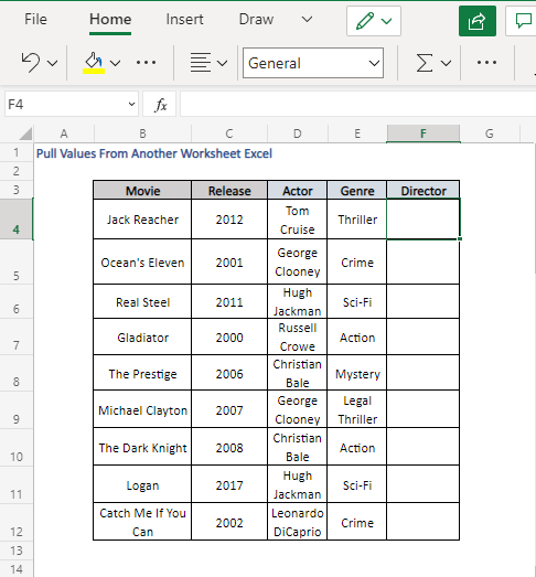 Pull Movie Directors from Details Sheet