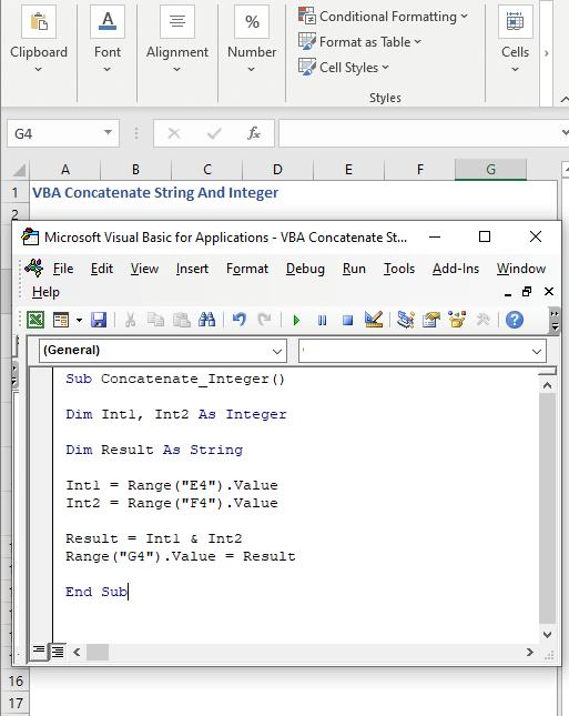 VBA code to concatenate Integers