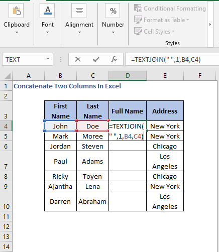 TEXTJOIN Formula - Concatenate Two Columns In Excel