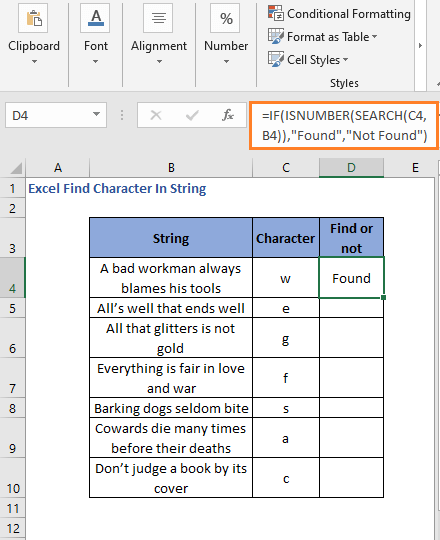 Result of IF-ISNUMBER with SEARCH function to generate readable result