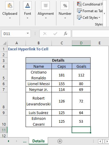 Details sheet - Excel Hyperlink To Cell