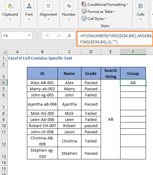 Result of IF MID FIND Formula code to check cell contains specific text
