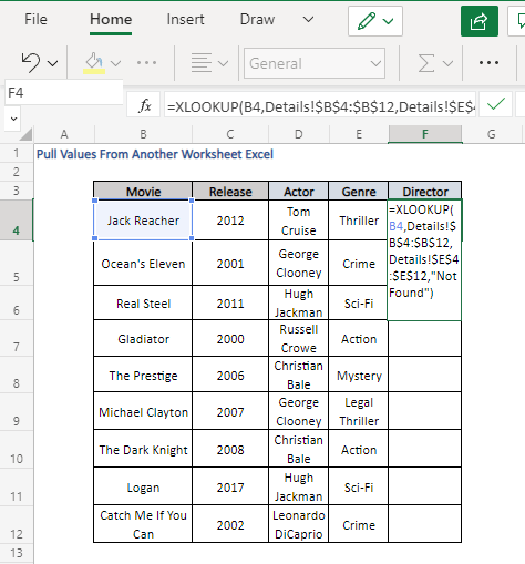 XLOOKUP Formula to Pull Values From Another Worksheet