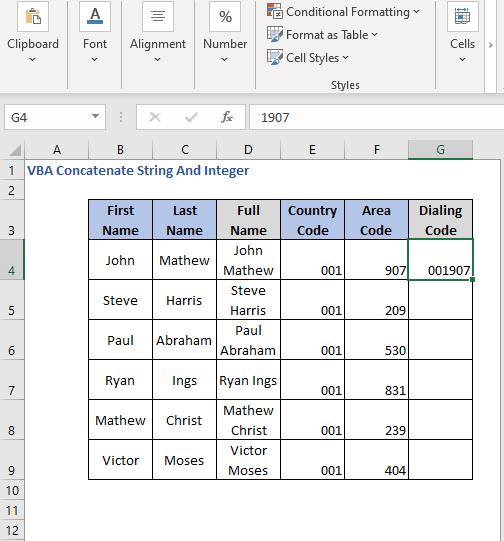 Concatenated Integer result