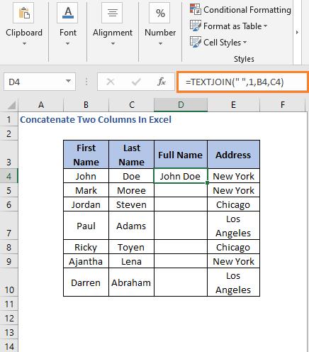 TEXTJOIN Formula result - Concatenate Two Columns In Excel