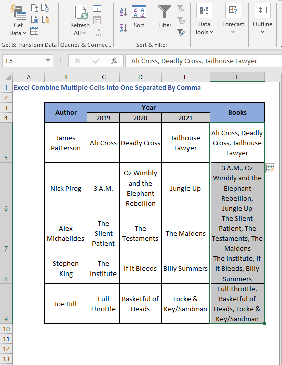 Combine Multiple cells using Flash Fill - Excel Combine Multiple Cells Into One Separated By Comma