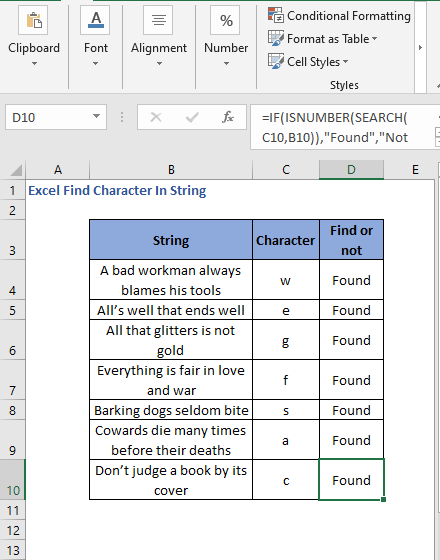 All the cell results for SEARCH - Excel Find Character In String