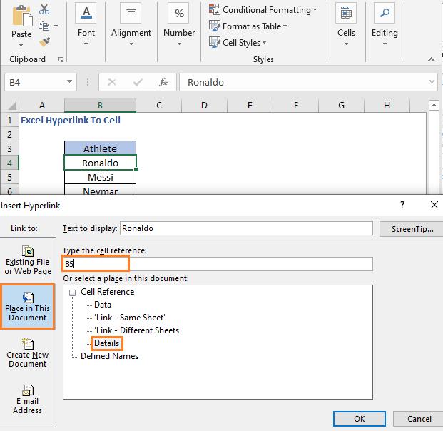 Insert Hyperlink dialog box for different sheet
