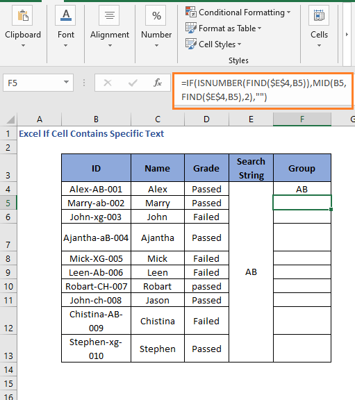 Case Sensitive IF FIND Formula code to check cell