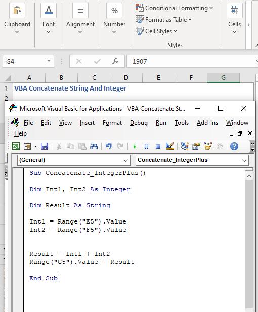 Code to concatenate integer using plus symbol