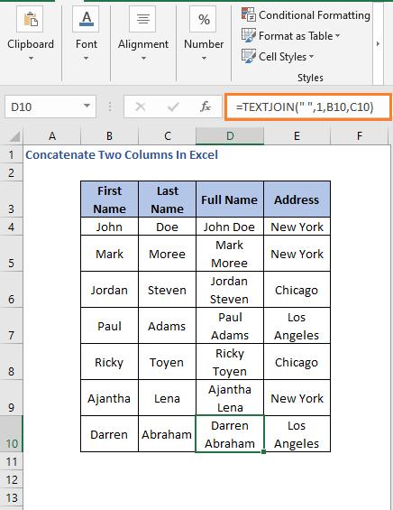 TEXTJOIN AutoFill - Concatenate Two Columns In Excel