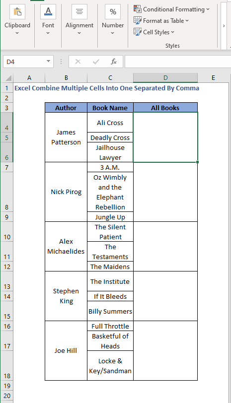 Data in rows - Excel Combine Multiple Cells Into One Separated By Comma