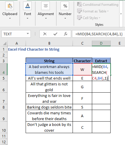 MID function to extract finding character in string