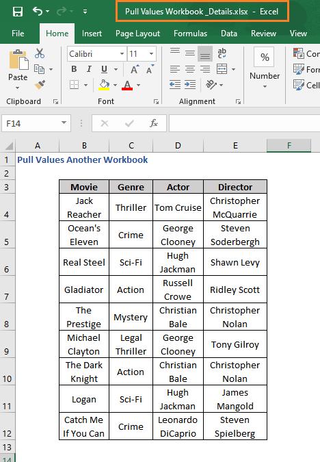 Pull Values Details Workbook