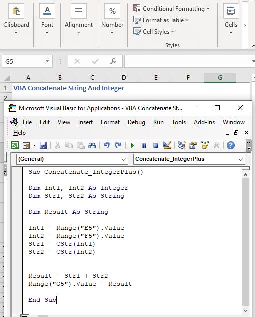 Updated Code to concatenate integer using plus symbol