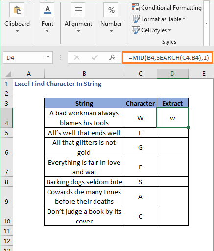 Result of MID formula to extract the character in string