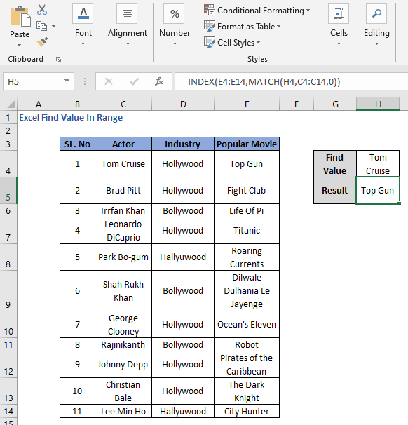 INDEX-MATCH to derive the value from range