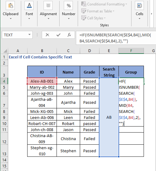 IF MID SEARCH Formula code to check cell contains specific text