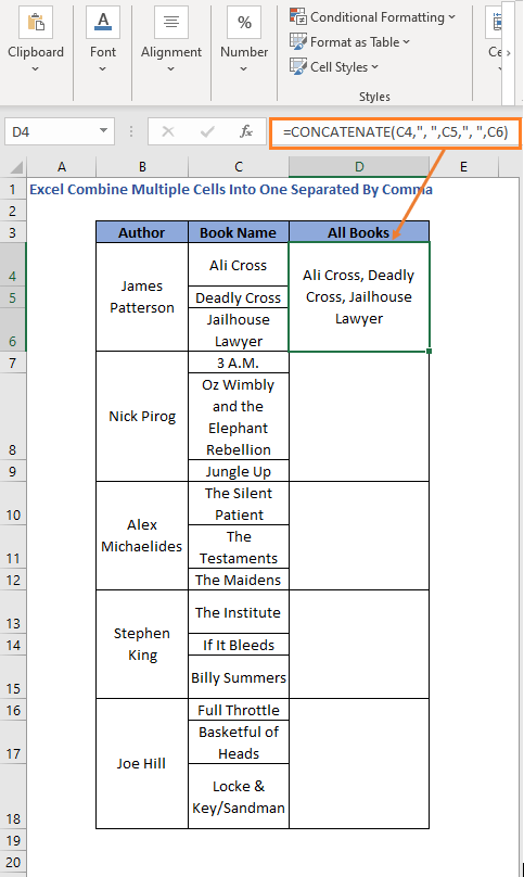 CONCATENATE function with comma over rows to combine cells