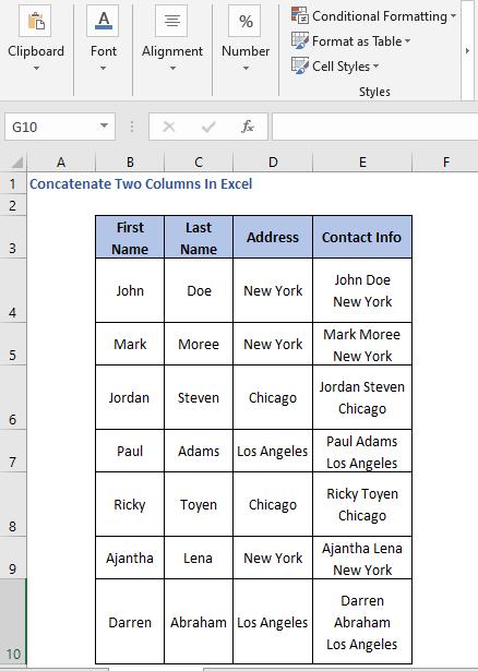 Line Break in concatenated value - Concatenate Two Columns In Excel