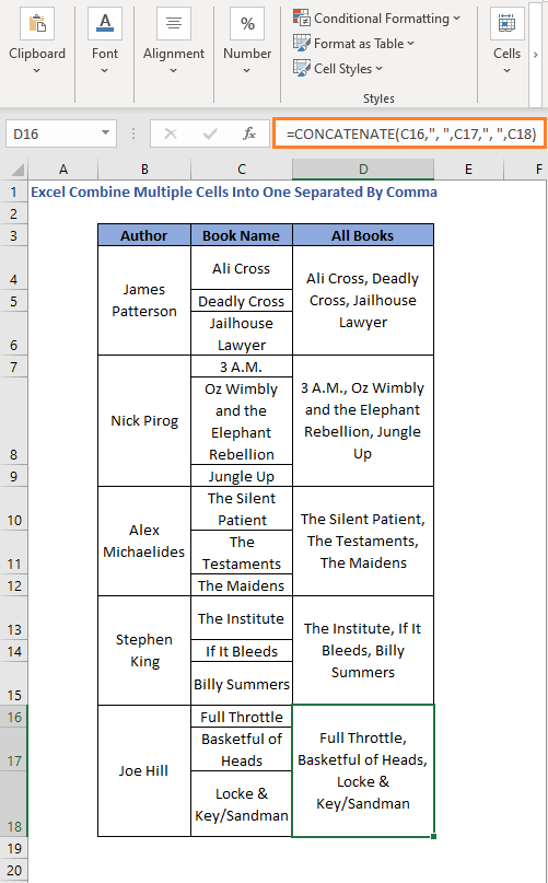 CONCATENATE/CONCAT Function across rows to Combine Multiple Cells Into One