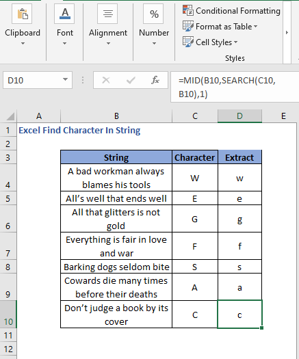 Extract the characters from all strings - Excel Find Character In String