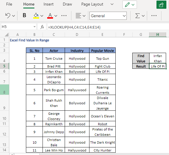 XLOOKUP formula to derive the value