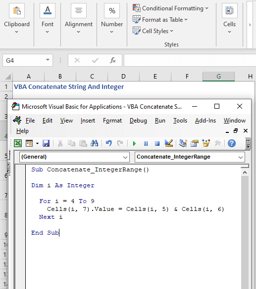Concatenate a range of cells of integers with VBA