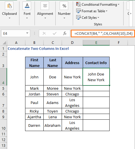 Formula with line break - Concatenate Two Columns In Excel