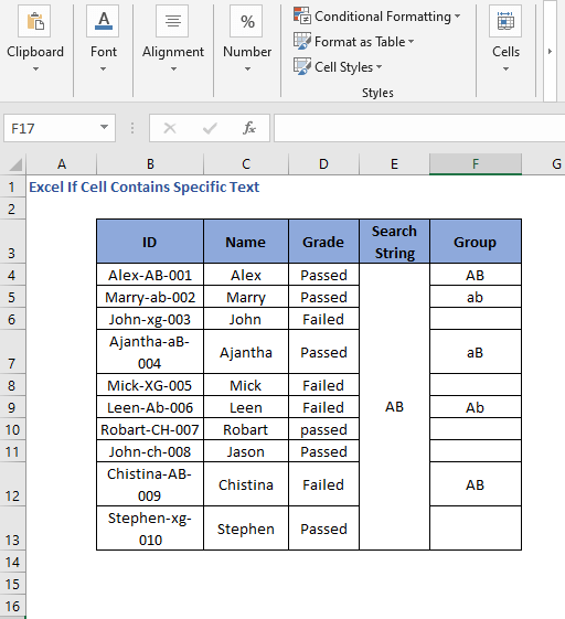 All result of IF MID SEARCH Formula code to check cell contains specific text