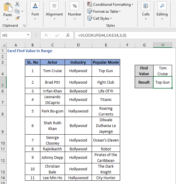 VLOOKUP to derive value from range