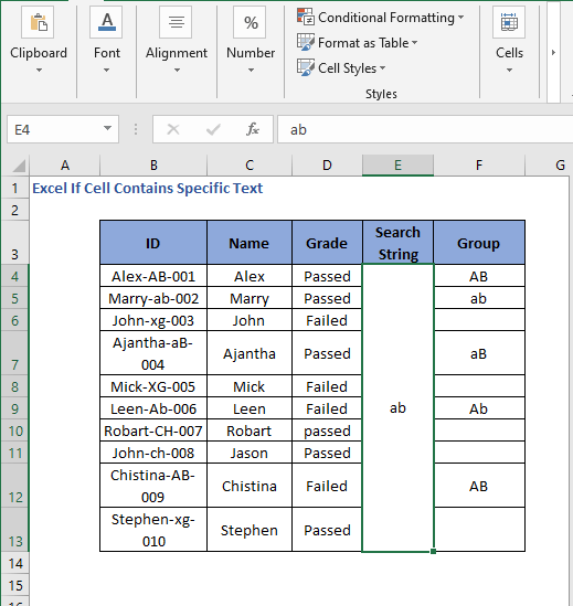 Change in String Search for checking values
