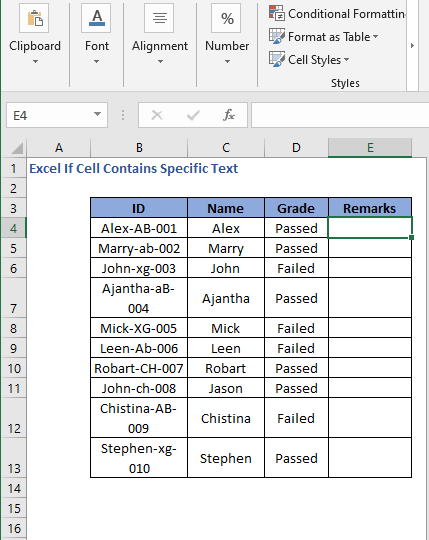New Column Remarks - Excel If Cell Contains Specific Text
