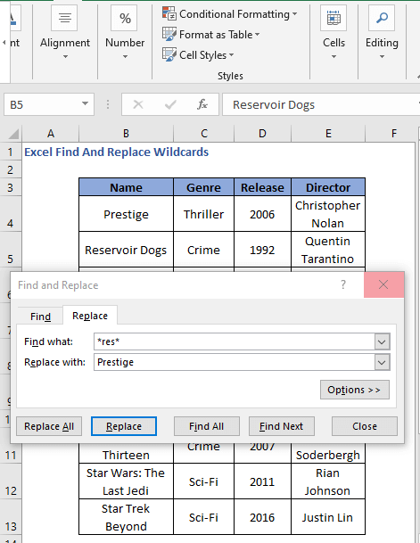 Replace option click to replace wildcard values