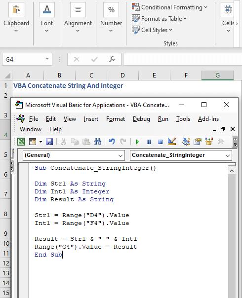 Code to concatenate string and integer - VBA Concatenate String And Integer