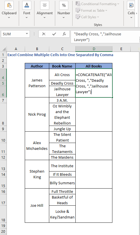 Remove curly braces - Excel Combine Multiple Cells Into One Separated By Comma