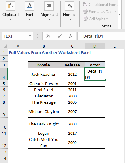 Cell reference to pull values