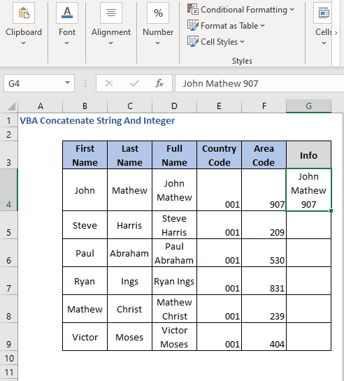Concatenate result integers strings with VBA