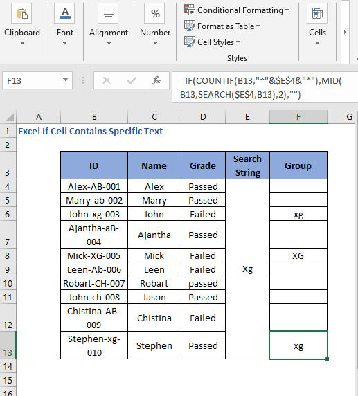 Change of string change of result - Excel If Cell Contains Specific Text