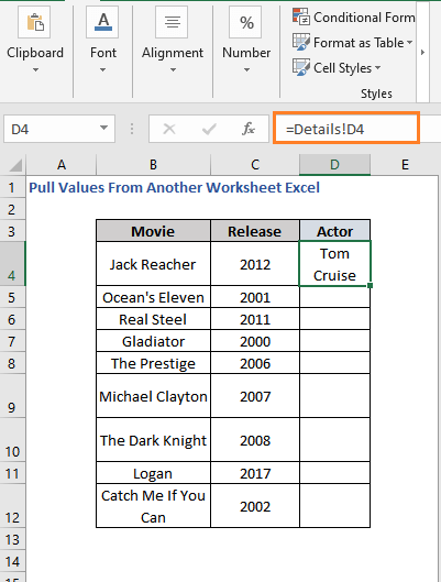 Result of using cell reference to pull values from sheet