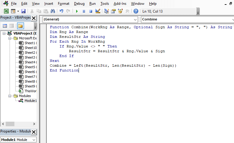 VBA Code to generate user defined function for combining cells