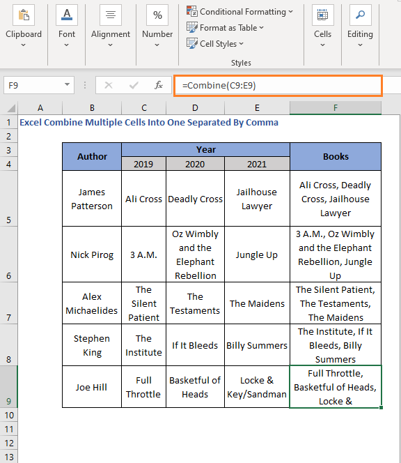User defined function with comma delimiter over columns to all cells