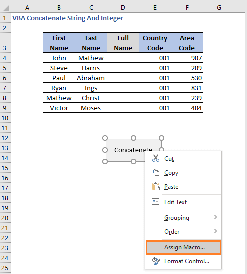 Assign code - VBA Concatenate String And Integer
