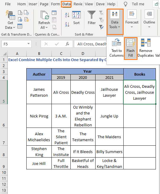 Flash Fill feature - Excel Combine Multiple Cells Into One Separated By Comma