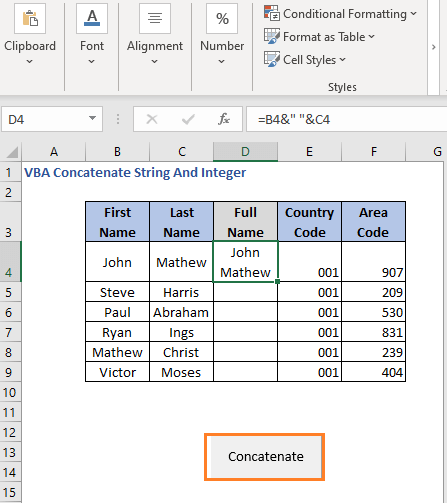 Select cell - Press button  - VBA Concatenate String And Integer