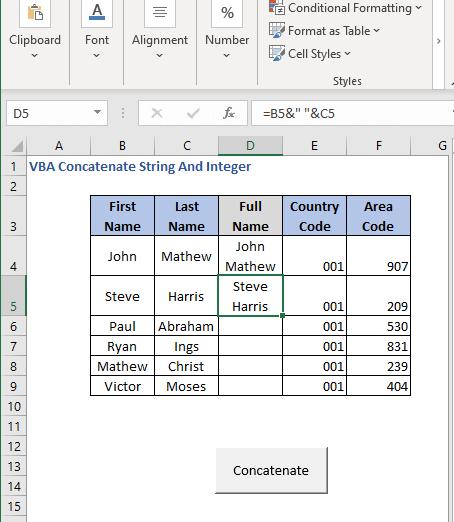 Select cell - Press button 2 - VBA Concatenate String And Integer